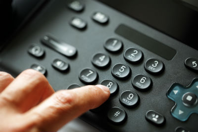 User dialing on phone keypad